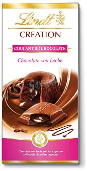 Lindt Chocolate creation con leche relleno de coulant de chocolate cremoso  Tableta de 100 g