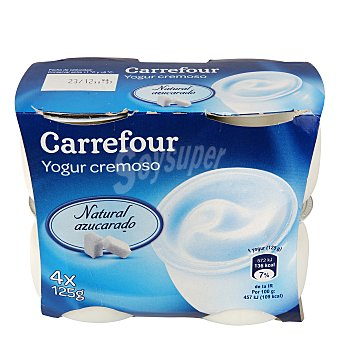 Carrefour Yogur cremoso natural azucarado Pack 4x125 g