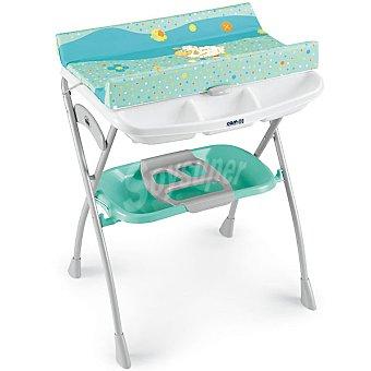 CAM C203008 bañera con cambiador para bebé Volare en color turquesa con dibujo de ovejita y flores