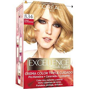 Excellence L'Oréal Paris Tinte Rubio Glamuroso nº 8.34 crema color triple cuidado caja 1 unidad con Pro-keratina + Ceramida + Colágeno Caja 1 unidad