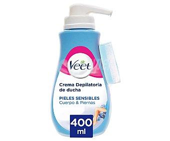 Veet Crema depilatoria de ducha, para piernas y cuerpo, espcial pieles sensibles 400 ml