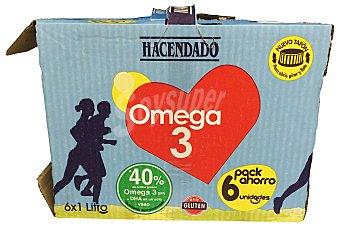 Hacendado Preparado lacteo omega 3 (desnatada) Brick pack 6 x 1 l - 6 l