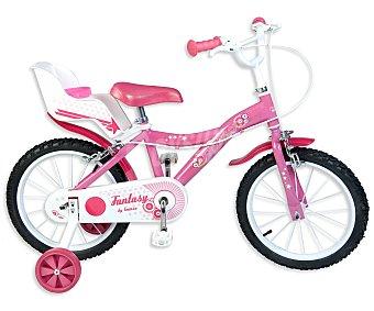 TOIMSA Bicicleta Infantil con Portamuñecas Trasero, 1 Velocidad, Modelo Fantasy 16 Pulgadas 1 Unidad