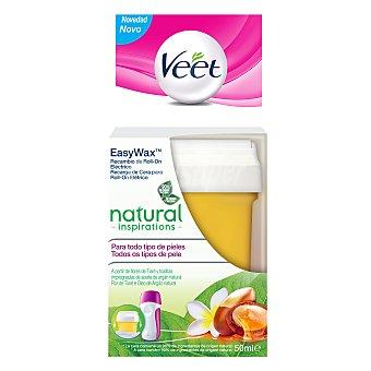 Veet Recambio de cera para utilizar con Easy Wax roll-on eléctrico natural inspirations para todo tipo de pieles Caja 1 ud