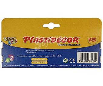 Plastidecor Bic Caja de 15 ceras blandas de diferentes colores e ideales para uso escolar kids 15 ud