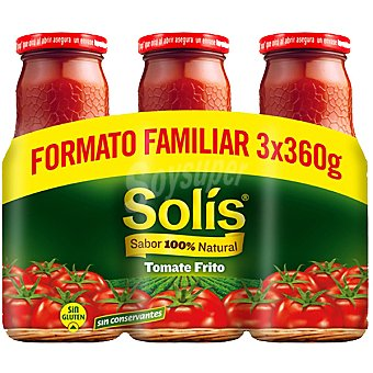 SOLIS tomate frito formato familiar neto escurrido pack 3 frasco 360 g