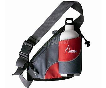 LAKEN Riñonera ajustable con portabotella y bolsillo frontal con cierre de cremallera, no incluye botella 1 unidad