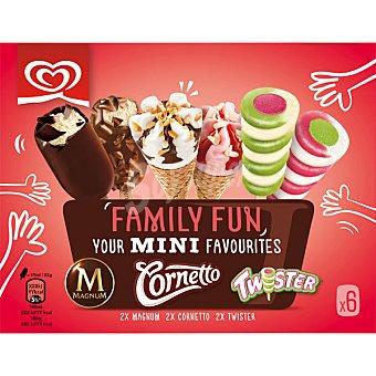Frigo Family Fun mini helados 2 Magnum 2 Cornetto y 2 Twister pack 6 unidades estuche 340 ml Pack 6 unidades