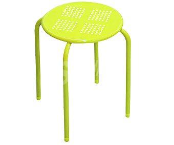 Productos Económicos Alcampo Taburete de metal apilable color verde, medidas: 30x30x44 centímetros 1 unidad