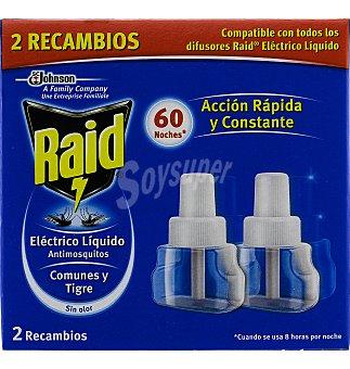 Raid Insecticida eléctrico recambio líquido duplo 2 unidades