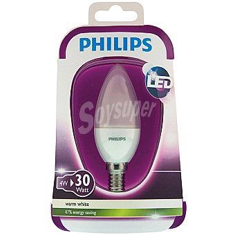 Philips (30 W) lámpara led blanco cálido casquillo E14 (fino) Vela Opaca 4 W