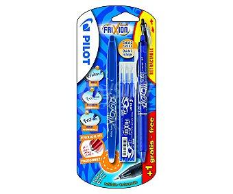 Pilot Set de 2 bolígrafos retráctiles del tipo roller de grip suave, punta media con grosor de escritura de 0.7 milímetros, tinta líquida borrable azul y 3 recargas 1 unidad