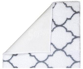 Actuel Alfombra de baño 100% poliéster, 1635g/m² de densidad, 50x70cm., color blanco con estampado geométrico ACTUEL. 1635g