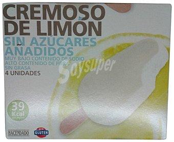 HACENDADO Helado sin azúcar añadido y sin grasa palo bombón sorbete cremoso limón CAJA 4 u