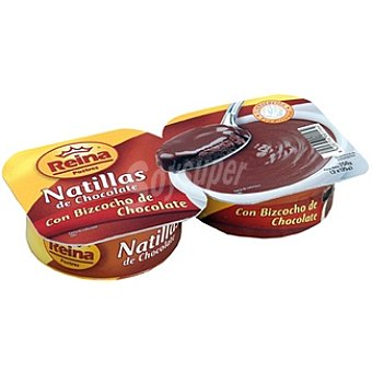 Postres Reina Natillas de chocolate con bizcocho de chocolate Pack 2 unidades 125 g