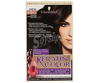Keratin Color Schwarzkopf Coloración Permanente nº 2.0 Castaño ébano 1 unidad