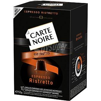 CARTE NOIRE Espresso Ristretto Café compatible con máquinas Nespresso ápsulas estuche 53 g 10 c