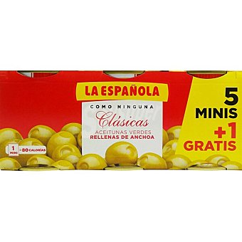 La Española Aceitunas verdes rellenas de anchoa pack 5 latas 50 g neto escurrido + 1 lata gratis pack 5 latas 50 g