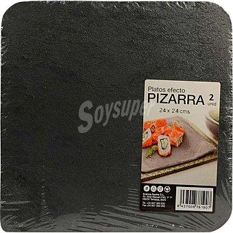 Macadamia business solutions platos efecto pizarra 24x24 cm envase 2 unidades