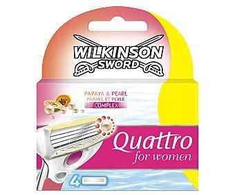 Wilkinson Cargador maquinilla depilatoria para mujer Quattro 4 ud