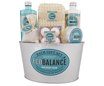 Gloss Cesta de baño metálica con productos de belleza corporal aroma a romero, Eco Balance 1 unidad