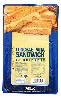 Hacendado Queso barra lonchas sandwich Paquete 200 g