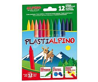 Alpino Caja de 12 ceras plásticas de diferentes colores, que no manchan y se les puede sacar punta 1 unidad