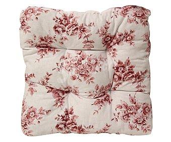 Auchan Cojín capitoné estampado para silla, modelo Panama, color rosa 35x35x8 centímetros 1 Unidad