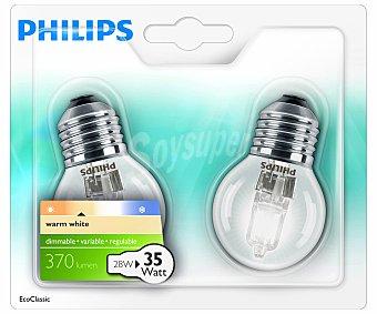 Philips Bombillas ecohalógenas esféricas 28 Watios, con casquillos E27 (gruesos) y luz cálida 2 unidades