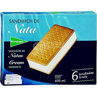 El Corte Inglés Sándwich de helado de nata estuche 600 ml 6 unidades