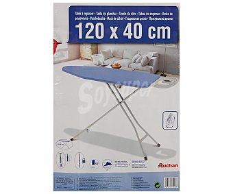 Auchan Tabla de planchar plegable y regulable en altura con soporte para plancha, altura máxima de 92 cm y hasta 10 posiciones diferentes 120x40 cm 1 Unidad