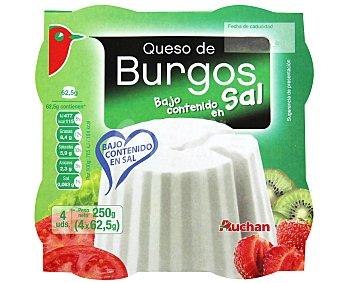 Auchan Queso fresco sin sal Pack 4 envases x 62,5 gr