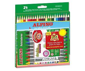 Alpino Caja de 24 lápices de colores y 10 rotuladores de doble punta fina-gruesa 1 unidad