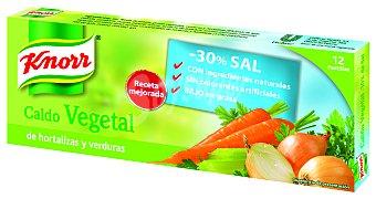 Knorr Caldo vegetal de hortalizas y verduras bajo en sal Caja 12 pastillas