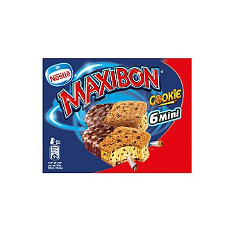 Maxibon Nestlé Mini sandwiches de vainilla con trocitos de cookies Pack 6 x 85 ml