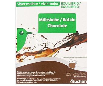 Auchan Batido de chocolate Vivir Mejor, caja de 9 sobres de 30 gramos 9u