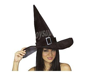 HAUNTED HOUSE Sombrero de bruja color negro con hebilla para adulto, Halloween Gorro bruja