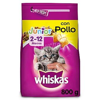 Whiskas Pienso para gatos junior (2-12 meses) a base de pollo y leche Paquete 800 g