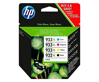 HP Pack de cartuchos de tinta 932XL Negro y 933XL, negro, cian, magenta y amarillo, compatible con impresoras: Officejet 6100 / 6600 / 6700