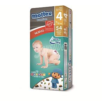 Moltex Pañales Premium de 9 a 15 kg talla 4 Bolsa 54 uds