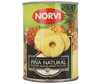 Norvi Piña natural en rodajas en su jugo sin azúcar añadido 340 g
