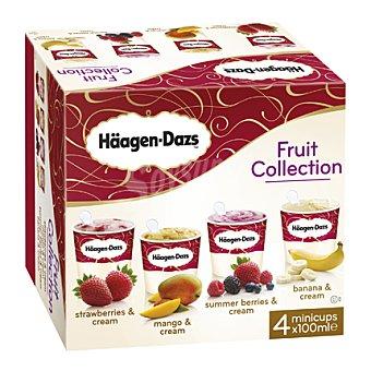 Häagen-Dazs Minitarrinas sabor banana, frutas, mango y fresa 4 ud
