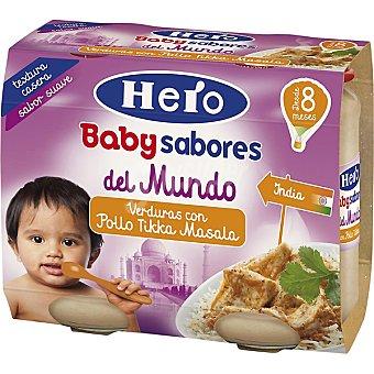 Hero Baby Tarrito de verduras con pollo tikka masala sabores del mundo. Desde 8 meses pack 2 x 190 g