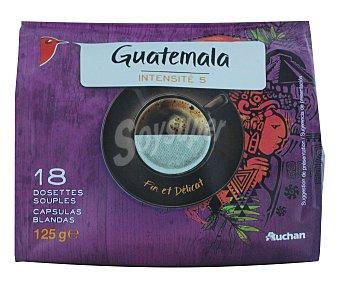 Auchan Café molido de tueste natural en monodosis de origen Guatemala (100% arábica) 18 unidades 125 gramos