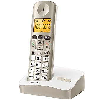 PHILIPS Teléfono inalámbrico Dect en color champagne XL3001C/23  1 Unidad