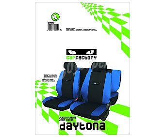 CAR FACTORY Juego de fundas para asientos de automóvil, modelo daytona, de talla única y fabricadas en poliester de color negro con los laterales en azul 1 unidad