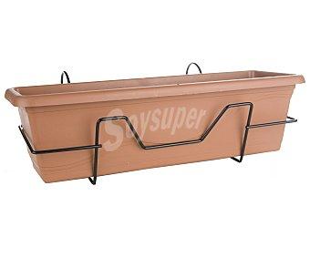 VAN Jardinera plástica, lisa, de color terracota, con soporte de balcón y plato 1 unidad