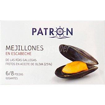 Patrón Mejillones en escabeche de las rías gallegas 6-8 piezas gigantes Lata 69 g neto escurrido