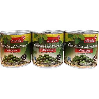 Aliada Guisantes al natural medianos extra pack 3 latas 120 g neto escurrido Pack 3 latas 120 g