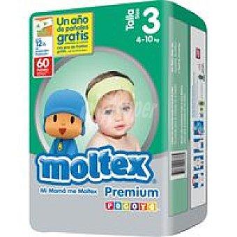 Moltex Pañal Premium 4-10 kg Talla 3 Paquete 60 unid